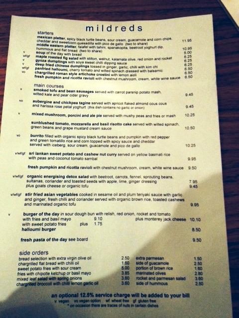 mildreds soho menu